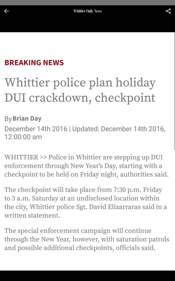 Whittier Daily News- screenshot