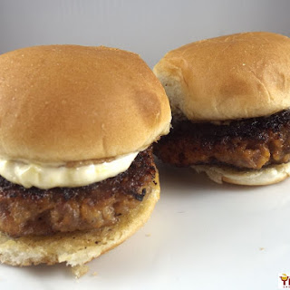 Spicy Asian Ground Pork Sliders with Mango Mayo.