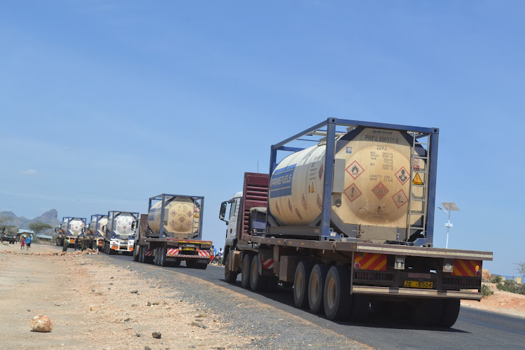 Trucks loaded with crude oil from Turkana heading to Lamu, Mombasa.