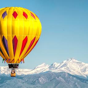 Rocky Mountain Hot Air Balloon by Kimberly Sheppard - Transportation Other ( flight, hot air balloon, mountains, yellow, balloon )