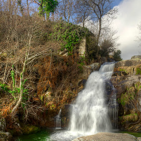 Old House By The Waterfall by Júlio Alves - Landscapes Mountains & Hills ( old house, water, winter, hdr, nature, waterfall, vila real, ruins, landscape )