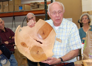 Photo: Bill Long's latest project, a huge bowl that he has given a working title of The Three Bears.