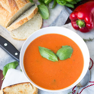 Easy Roasted Red Pepper and Tomato Soup.