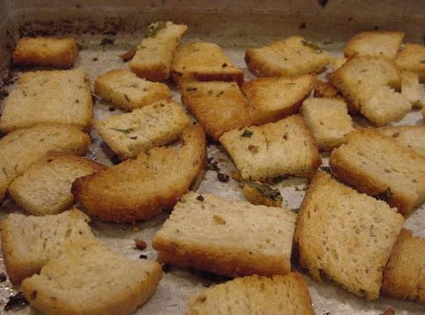 PREPARE CROUTONSMelt the butter in an oblong pan, add the basil, garlic and toss...