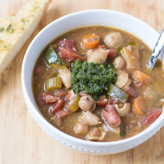 Slow Cooker Pesto Minestrone Soup.