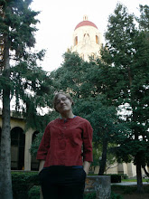 Photo: Me on the Stanford campus, Hoover Tower in background