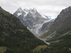Photo: ... and the view from our balcony (Mont Collon and the Pigne d'Arolla glacier )