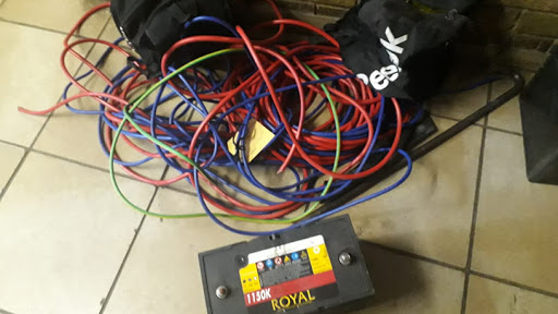 A battery and cables recovered by SAPS following a shootout with suspects. (Source: SAPS)