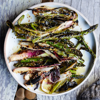 Grilled Asparagus and Spring Onions with Lemon Dressing