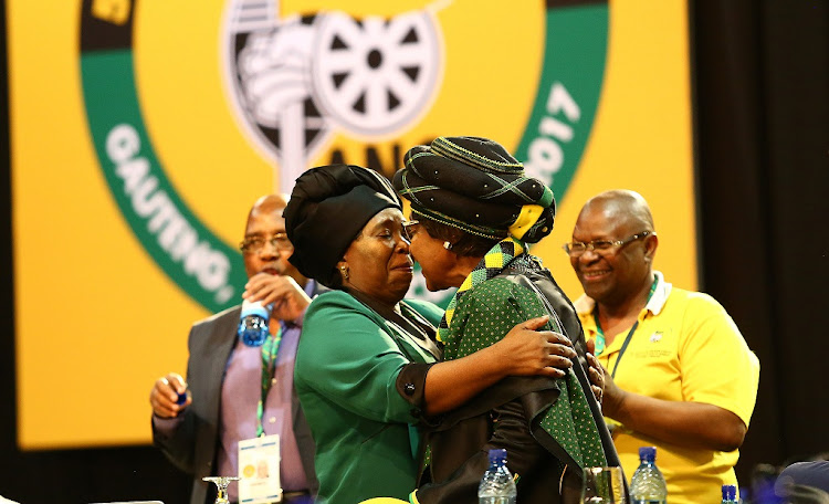 ANC presidential hopeful Dr Nkosazana Dlamini-Zuma hugs ANC stalwart Winnie Madikizela-Mandela during the 54th ANC National Conference taking place at Nesrac, December 16 2017. Picture: MASI LOSI