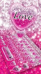 Pink Glitter Love Heart Keyboard Theme - náhled