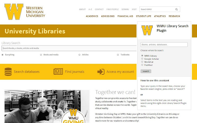 WMU Library Search Plugin