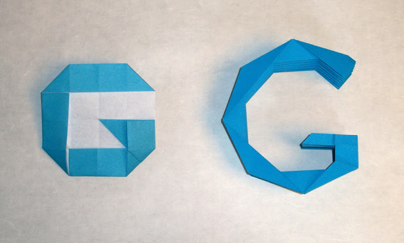 Photo: Robert Lang, who folded the letters in the doodle, created two Gs in different styles for our doodle team to choose from, each using a single sheet of paper.