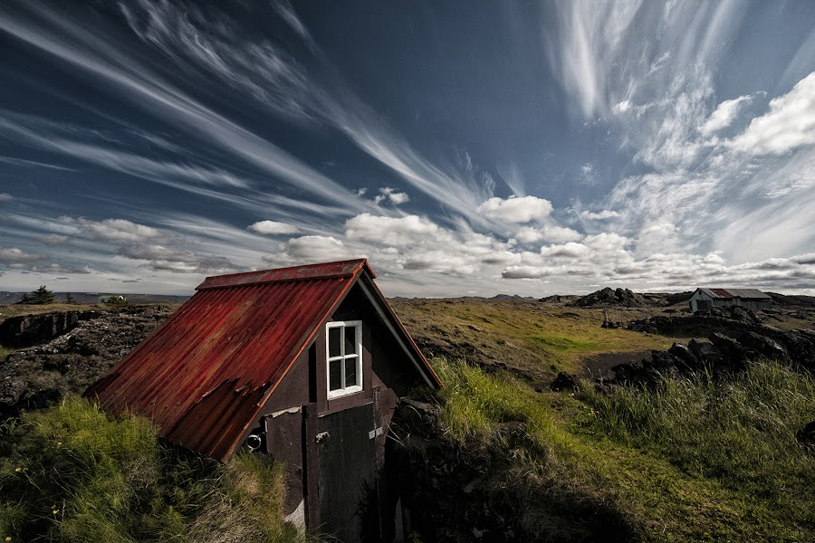 Tiny Hut  by Þorsteinn H. Ingibergsson - Buildings & Architecture Decaying & Abandoned ( sky, red, shack, nature, hut, þorsteinn h ingibergsson, cabin, structor, iceland, clouds, abandoned, landscape )