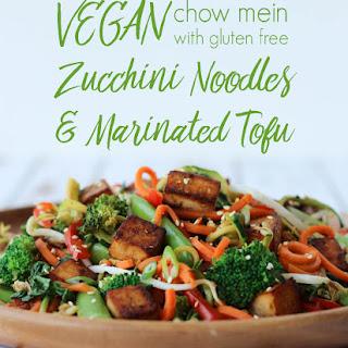 Vegan Chow Mein with Gluten Free Zucchini Noodles & Marinated Tofu.