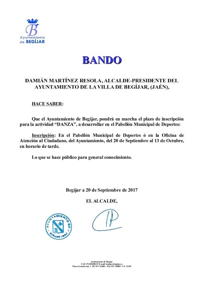 Bando inscripcion actividad Danza 2017
