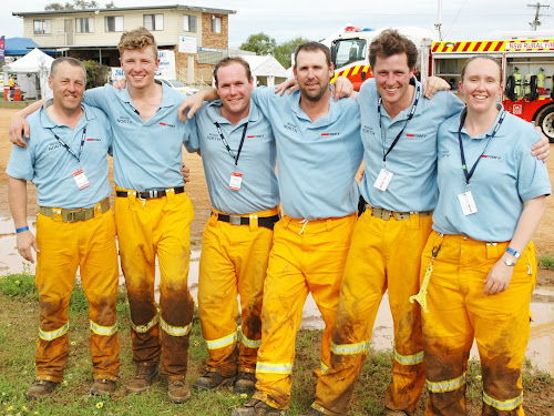 """They might have been """"learning a lot and having fun"""" but the Narrabri team finished second in the NSW senior firefighting championships at the weekend - Tim Baxter, George Scilley, Michael Promnitz, Captain Greg Cassidy and Phil and Megan Davies. Todd McFetridge was also a member of the team but was unable to take his place due to illness and was replaced by Mrs Davies."""