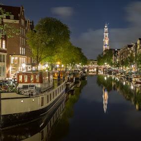 Prinsengracht 2 by Bim Bom - City,  Street & Park  Vistas ( prinsengracht amsteram canal water reflections night boat houseboat westerkerk church trees lights, night, lights, , city )