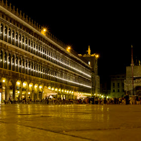 San Marco by D L - City,  Street & Park  Street Scenes ( lights, open, brick, cafe, stone, lines, night, piazza, san marco, plaza )