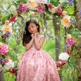 FLower swing by Stephanie Halley - Babies & Children Children Candids ( spring, swing, pose, eyes, flower )