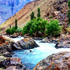 Streaming  by Zubair Chana - Nature Up Close Other Natural Objects ( mountain, streaming, green, rocks, stream, nature, waterfall, blues,  )