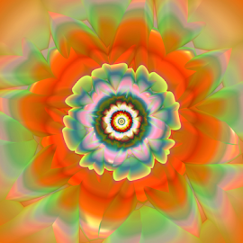 Flower 37 by Cassy 67 - Illustration Abstract & Patterns ( digital, harmony, blossom, abstract art, abstract, sun, fractals, digital art, flower, orange, orange flower, classic, bloom, modern, fractal, energy )