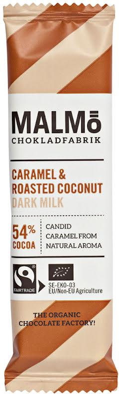 Karamell & rostad kokos mörk mjölkchoklad 54 % - Malmö Chokladfabrik