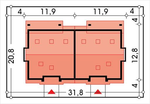 Małgosia bliźniak wersja D bez garażu, z poddaszem, z wykuszem - Sytuacja
