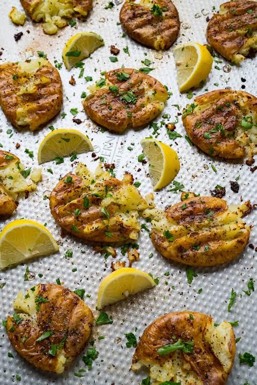 "Crispy Greek Lemon Smashed Potatoes ""Tender potatoes that are smashed and roasted..."