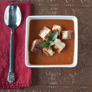 Fire-Roasted Tomato Basil Soup with Grilled Cheese Croutons