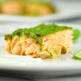 BAKED SALMON IN FOIL WITH GREEN MARINADE