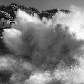 The wave by Roberto Melotti - Black & White Landscapes ( huge, roberto melotti, extreme, great, wave, nikon d810, heavy, big, italy, large, portovenere )