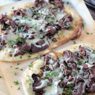 Flatbread Pizza with Beef, Mushroom, and Caramelized Onions.