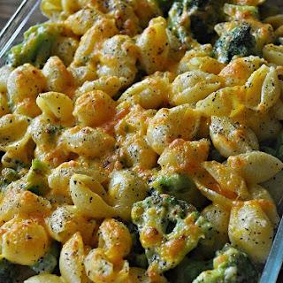 Baked Cheesy Broccoli and Shells.