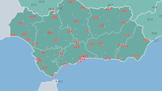 Mapa de precipitaciones de ayer en Andalucía (Fuente Aemet).