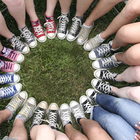 A Circle of Stars by James Wayne - People Body Parts ( shoes, body parts, converse, feet, circle, people, all stars )