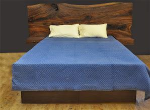 Photo: a walnut slab queen size bed http://dorsetcustomfurniture.blogspot.com/2014/11/a-claro-walnut-slab-headboard-bed.html
