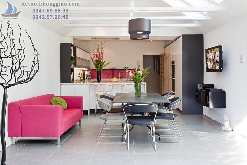 thiết kế phòng khách phối hợp ăn ý với nhà bếp