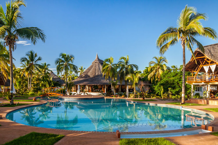 The tropical swimming pool at one of the luxury hotels in Nosy Be, Madagascar.