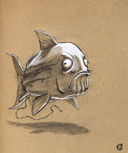 Photo: Some days you just gotta draw a silly, ugly fish working on an hour-long dump.