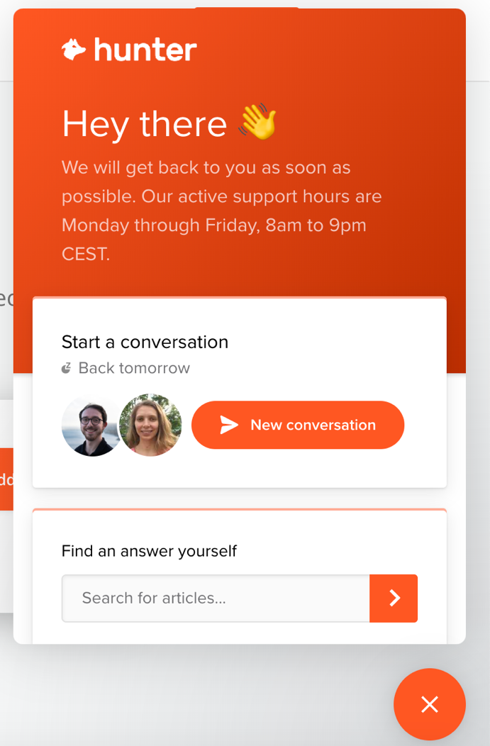 Snapshot of Hunter live chat interface