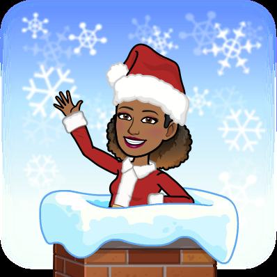 Mrs. Goodwin's Bitmoji in a Santa hat in a chimney