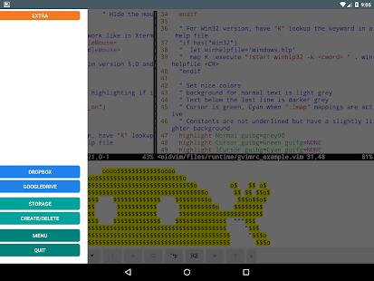 DroidVim (Text editor) - náhled