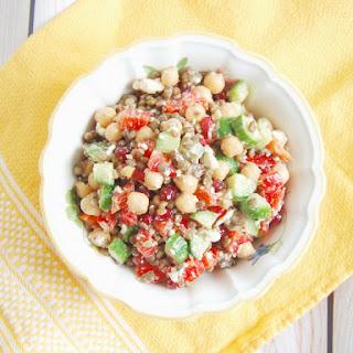 Lentil Chickpea Vegetable Salad with Feta.