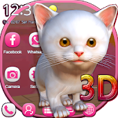3D White Kitty Animation Theme With Live Wallpaper