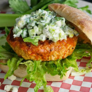 Buffalo Chicken Burger with Celery Blue Cheese Topping Recipe