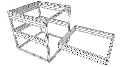 "Photo: Bare ""625"" frame (600mmx25mm) + electrical module carrier (upper) + mechanical module carrier (Lower) + Mechanical Module Frame"