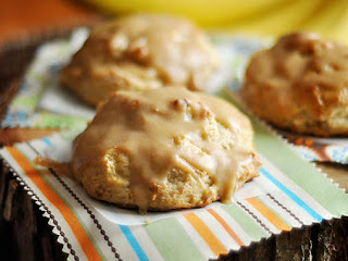 Roasted Banana Scones With Peanut Butter Glaze Recipe