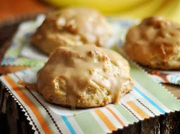 Roasted Banana Scones with Peanut Butter Glaze