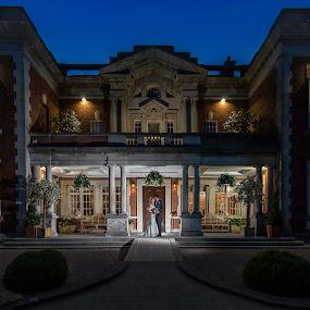 Beautiful Evening at Eaves Hall by Nigel Hepplewhite - Wedding Bride & Groom ( off camera flash, blue hour, beautiful, eaves hall, evening shot )